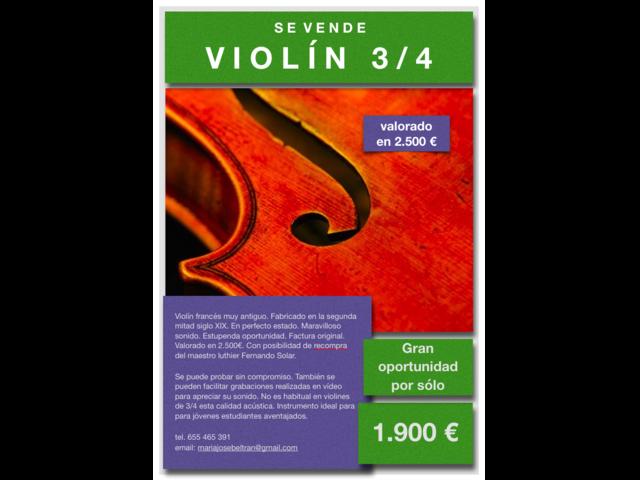 Se vende violín frances 3/4 sonido excepcional