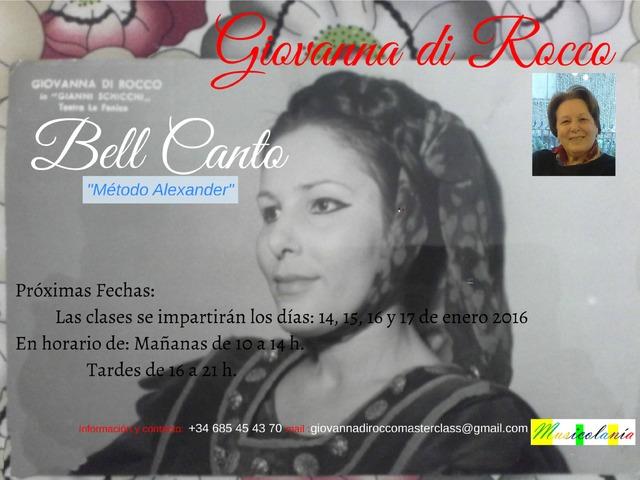 Bel Canto, Master Class Giovanna di Rocco