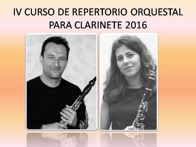 IV CURSO DE REPERTORIO ORQUESTAL PARA CLARINETE 2016